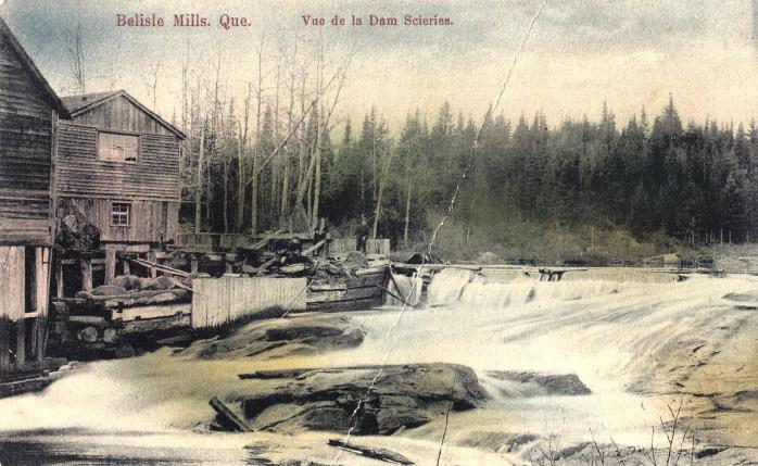 Belisle Mills - Sawmill, c.1910. Early hand-tinted postcard.