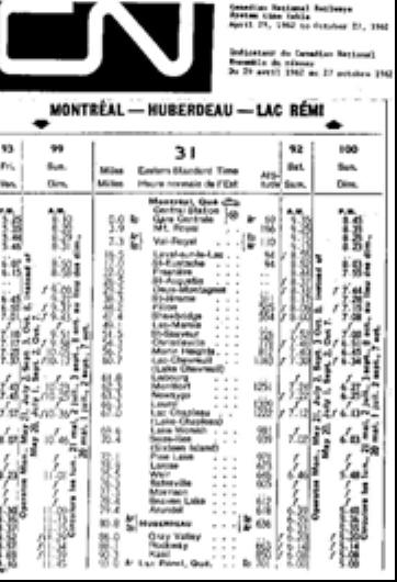 Timetable, Canadian National Railways. (Photo - courtesy of MHHA)